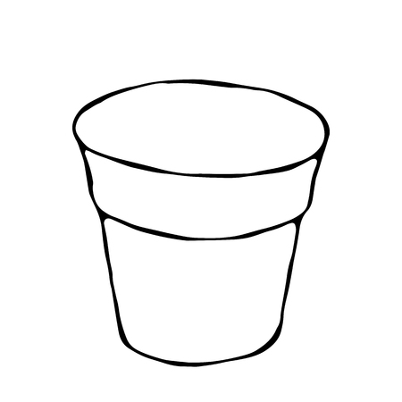 Empty Flower Seeding Pot. Flowerpot for Sprouting Seeds. Growing Sprouts Background. Gardening Hobby Hand Drawn Illustration. Savoyar Doodle Style