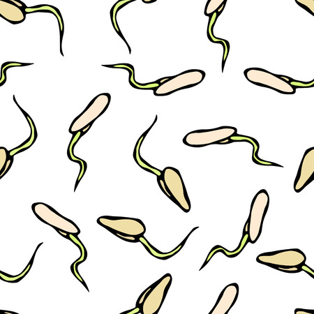 Seamless Endless Vector Illustration of Sprouting Seeds. Seedling Background, Shoot, Plant. Trees, Flowers, Vegetables Cucumber, Zucchini, Pumpkin, Melons Growing Hand Drawn Savoyar Doodle Style