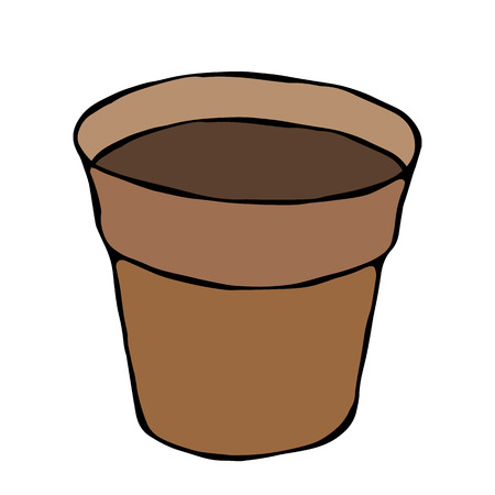 Flower Seeding Pot with Soil. Flowerpot for Sprouting Seeds. Growing Sprouts Background. Gardening Hobby Hand Drawn Illustration. Savoyar Doodle Style Illustration