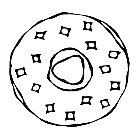 Sweet Donut with Sugar Glaze and Pink Round Confetti Topping. Pastry Shop, Confectionery Design. Round Doughnut with Holes. Best Dessert. Realistic Hand Drawn Illustration. Savoyar Doodle Style Иллюстрация