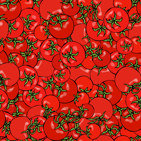 Seamless Pattern with Batch of Whole Tomato and Cherry Tomatoes.