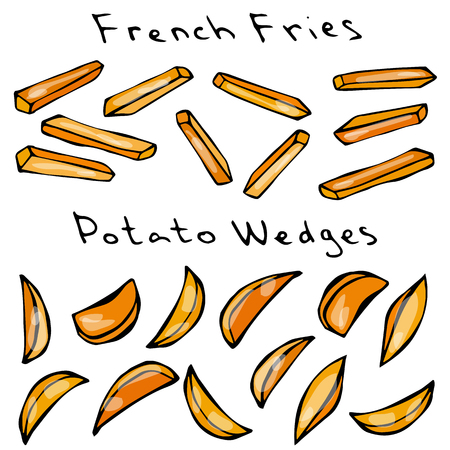 Wave Form French Fries. Fried Potato. Figure Knife Cuts of Potato Vegetable. Carved Cooking Ingredient, Fast Food or Street Food Cuisine. Realistic Hand Drawn Illustration. Savoyar Doodle Style 向量圖像