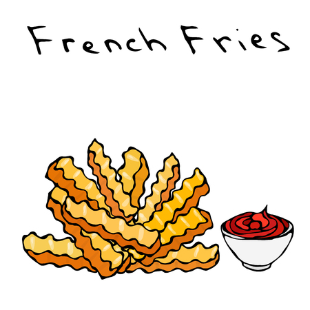 Wave Form French Fries and Bowl of Red Tomato Ketchup Fried Potato. Figure Knife Cuts of Potato Vegetable. Fast Food or Street Food Cuisine. Realistic Hand Drawn Illustration. Savoyar Doodle Style Illustration
