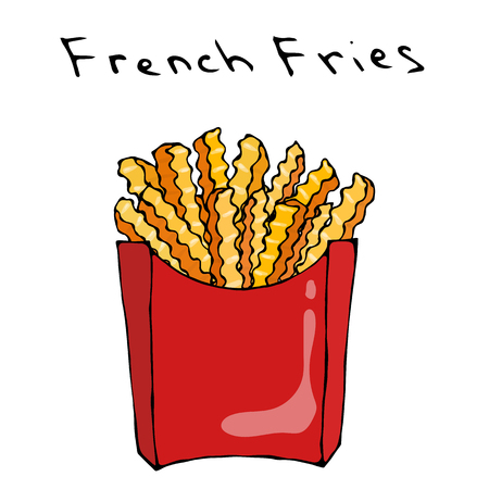 Wave Form French Fries in a Red Carton Box Fried Potato. Fast Food or Street Food Cuisine.