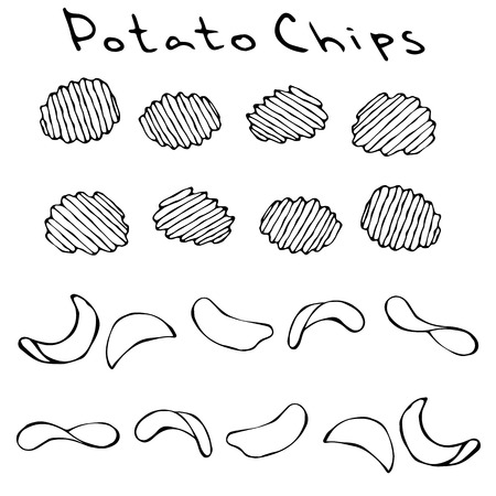 Ruffled or Corrugated Potato Chips. Beer Snack. Figure Knife Cuts of Vegetable. Carved Cooking Ingredient. Fast Food or Street Food Cuisine. Realistic Hand Drawn Illustration. Savoyar Doodle Style 일러스트