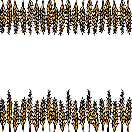 Ripe Wheat Spikelets Endless Brush. Border Ribbon of Malt with Space for Text. Farm Harvest Template. Realistic Hand Drawn Illustration. Savoyar Doodle Style Illustration