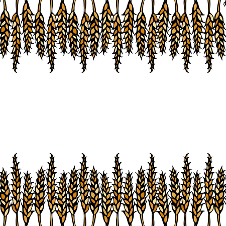 Ripe Wheat Spikelets Endless Brush. Border Ribbon of Malt with Space for Text. Farm Harvest Template. Realistic Hand Drawn Illustration. Savoyar Doodle Style Vettoriali