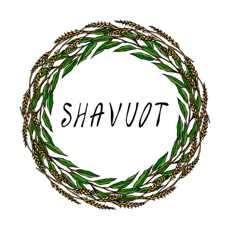 Jewish Holiday Shavuot Card. Wreath Wheat Spikelets and Green Bay Leaf, Hand Written Text. Round Wreath of Malt with Space for Text Template. Realistic Hand Drawn Illustration. Savoyar Doodle Style