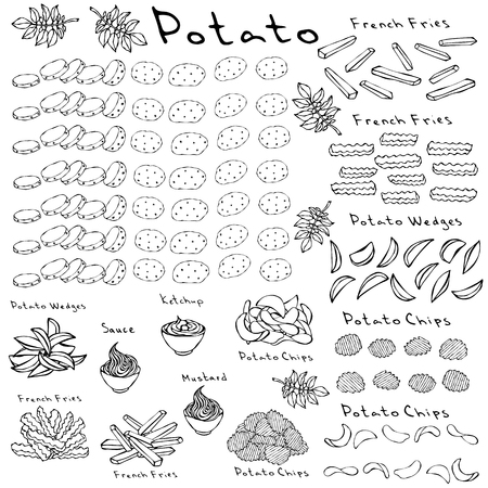 Fast Food Set. Varieties of Potatoes of Different Colors. Potato Slices and Nightshade Leaves. Potato Wedges, French Fries, Corrugated Potato Chips, Wave Chip, Ketchup, Mustard, Mayo in a Bowl Иллюстрация