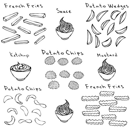 Fast Food Set. Varieties of Potatoe Slices. Potato Wedges, French Fries, Corrugated Potato Chips, Wave Chip, Ketchup, Mustard, Mayo in a Bowl. Realistic Hand Drawn Illustration. Savoyar Doodle Style.
