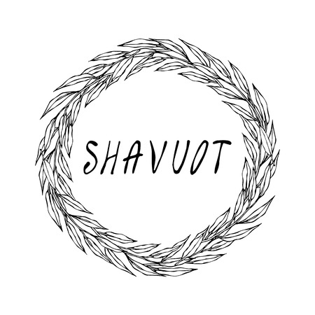 Jewish Holiday Shavuot Card. Wreath Green Bay Leaf, Hand Written Text. Round Wreath of Malt with Space for Text Template. Realistic Hand Drawn Illustration. Ilustracja