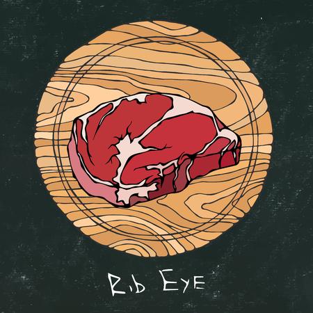 Schwarzes Kreidebrett. Beliebtestes Steak auf einem runden Holzschneidebrett. Rindfleisch geschnitten. Fleischführer für Metzgerei oder Steak House Restaurant Menü. Hand gezeichnete Illustration. Savoyar Doodle Style