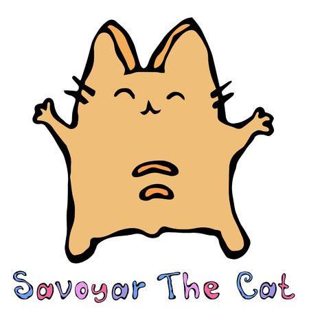 Savoyar The Cat. Cute Cheerful Fun Red or Ginger Kitty with Hands Held High. Adorable Kitten with Hand Up. Cartoon Hand Drawn Illustration.