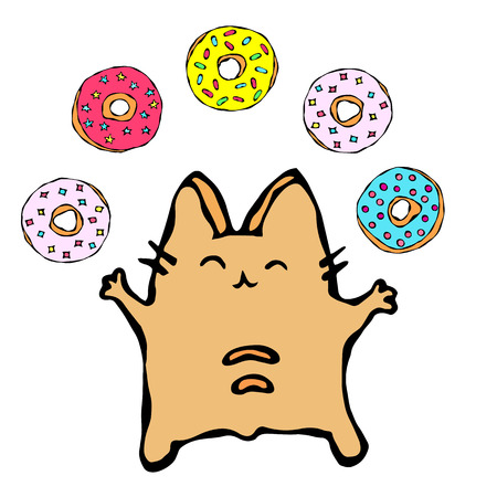 Savoyar the Cat Juggling Donuts. Love Donut. Cute Cheerful Fun Red or Ginger Kitty with Hands Held High. Adorable Kitten with Hand Up. Cartoon Hand Drawn Illustration. Illustration