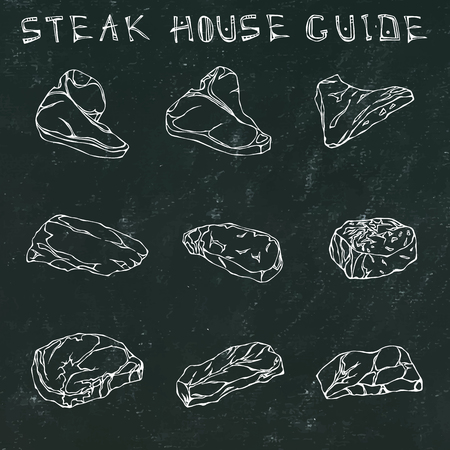 Black Chalk Board Background. Most Popular Steak Types Set. Beef Cuts. Steak House Restaurant Menu. Hand Drawn Illustration. Savoyar Doodle Style. Porterhouse, T-bone, New York Strip, Rib Eye  イラスト・ベクター素材