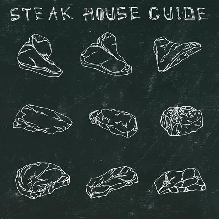 Black Chalk Board Background. Most Popular Steak Types Set. Beef Cuts. Steak House Restaurant Menu. Hand Drawn Illustration. Savoyar Doodle Style. Porterhouse, T-bone, New York Strip, Rib Eye Illustration