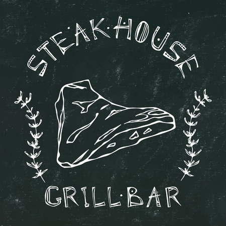 Black Chalk Board Background. Steak House or Grill Bar icon. T-Bone Steak Beef Cut with Lettering in Thyme Herb Frame. Meat icon for Butcher Shop, Menu. Hand Drawn Illustration. Illustration