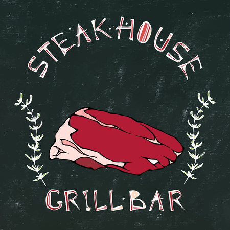 Black Chalk Board Background. Steak House or Grill Bar icon. T-Bone Steak Beef Cut with Lettering in Thyme Herb Frame. Meat icon for Butcher Shop, Menu. Hand Drawn Illustration. Vectores
