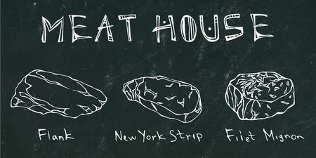 Black Chalk Board Background. Most Popular Steak Types Set. Steak House Restaurant Menu. Hand Drawn Illustration. Savory Doodle Style.