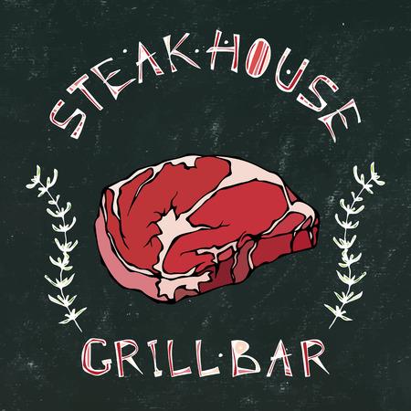 Black Chalk Board Background. Steak House or Grill Bar Logo. T-Bone Steak Beef Cut with Lettering in Thyme Herb Frame. Meat Logo for Butcher Shop, Menu. Hand Drawn Illustration. Savoyar Doodle Style Illusztráció