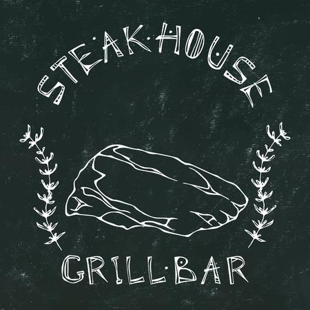 Black Chalk Board Background. Steak House or Grill Bar Logo. T-Bone Steak Beef Cut with Lettering in Thyme Herb Frame. Meat Logo for Butcher Shop, Menu. Hand Drawn Illustration. Savory Doodle Style Illustration