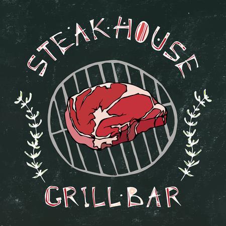 Black Chalk Board Background. Steak House or Grill Bar Logo. T-Bone Steak Beef Cut with Lettering in Thyme Herb Frame. Meat Logo for Butcher Shop, Menu. Hand Drawn Illustration. Savoyar Doodle Style Illustration
