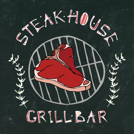 Black Chalk Board Background. Steak House or Grill Bar Logo. T-Bone Steak Beef Cut with Lettering in Thyme Herb Frame. Meat Logo for Butcher Shop, Menu. Hand Drawn Illustration. Savoyar Doodle Style 일러스트