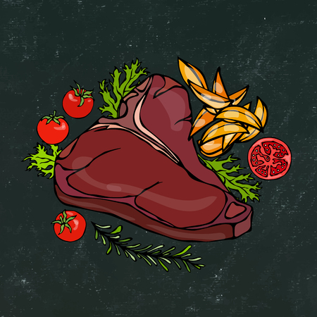 Black Chalk Board Background. Grilled or Fried Porterhouse Steak on a Plate with Potato Wedges, Tomatoes and Herbs. Steak Dinner. Ready Meal. Hand Drawn Illustration. Savoyar Doodle Style.