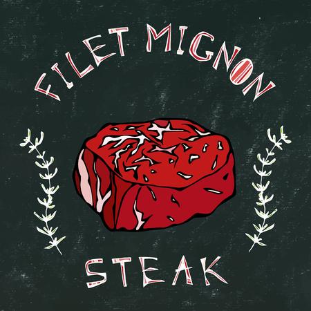 Black Chalk Board Background. Filet-Mignon Steak Beef Cut with Lettering in Herb Frame. Meat Guide for Butcher Shop or Steak House Restaurant Menu Logo. Hand Drawn Illustration. Savoyar Doodle Style