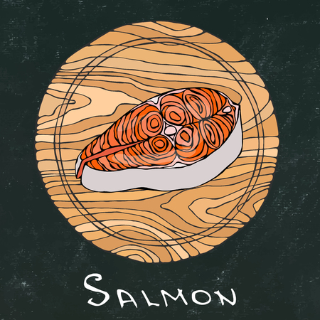 Black Chalk Board Background. Filet of Raw Salmon Fish on Round Cutting Board. Fish Cut Slice For Cooking, Holiday Meals, Recipes, Seafood Guide, Menu. Hand Drawn Illustration. Savoyar Doodle Style