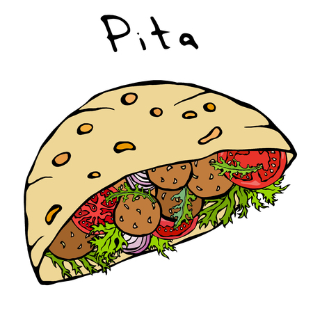 Falafel Pita or Meatball Salad in Pocket Bread. Arabic Israel Healthy Fast Food Bakery. Jewish Street Food. Realistic Hand Drawn Illustration. Savoyar Doodle Style