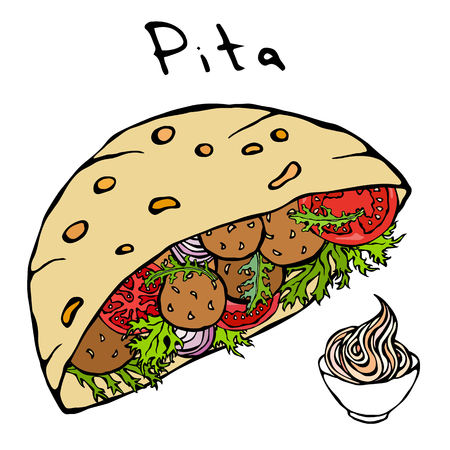 Falafel Pita or Meatball Salad in Pocket Bread and Mayonnaise Sauce. Arabic Israel Healthy Fast Food Bakery. Jewish Street Food. Realistic Hand Drawn Illustration. Savoyar Doodle Style Banco de Imagens - 102406588
