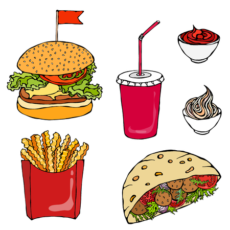 Burger, Cola Cup with Straw, French Fries, Ketchup, Falafel Pita or Meatball Salad in Pocket Bread Mayonnaise Sauce. Fast Street Food. Realistic Hand Drawn Illustration. Savoyar Doodle Style Vectores