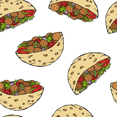Seamless Endless Pattern with Falafel Pita or Meatball Salad in Pocket Bread. Arabic Israel Healthy Fast Food Bakery. Jewish Street Food. Realistic Hand Drawn Illustration. Savoyar Doodle Style 向量圖像