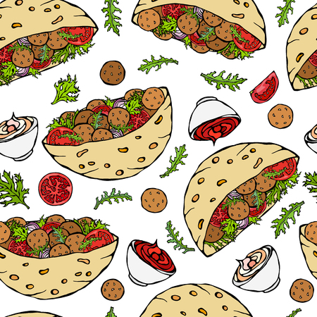Seamless Endless Pattern with Falafel Pita or Meatball Salad in Pocket Bread. Arabic Israel Healthy Fast Food Bakery. Jewish Street Food. Realistic Hand Drawn Illustration. Savoyar Doodle Style 向量圖像