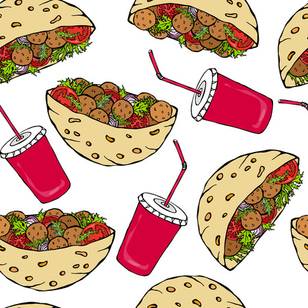 Seamless Endless Pattern with Falafel Pita or Meatball Salad in Pocket Bread and Cola Cap. Healthy Fast Food Bakery. Jewish Street Food. Realistic Hand Drawn Illustration. Savoyar Doodle Style