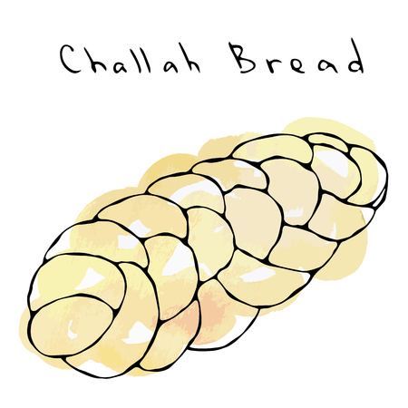 Watercolour Zopf or Challah Bread. Jewish or Swiss, Austrian or Bavarian Bakery. Realistic Hand Drawn Illustration. Savoyar Doodle Style.