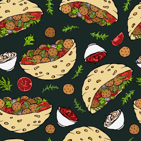 Black Board Background. Seamless Endless Pattern with Falafel Pita or Meatball Salad in Pocket Bread. Arabic Israel Healthy Fast Street Food. Realistic Hand Drawn Illustration. Savoyar Doodle Style 向量圖像