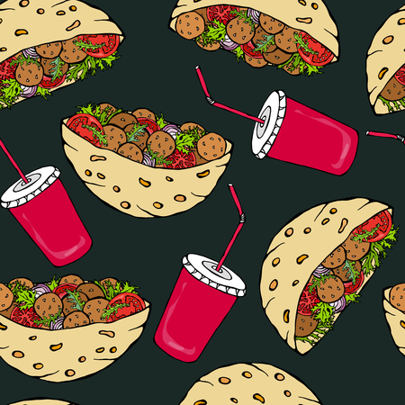 Black Board Background. Seamless Endless Pattern with Falafel Pita or Meatball Salad in Pocket Bread and Cola Cap. Healthy Fast Street Food. Realistic Hand Drawn Illustration. Savoyar Doodle Style