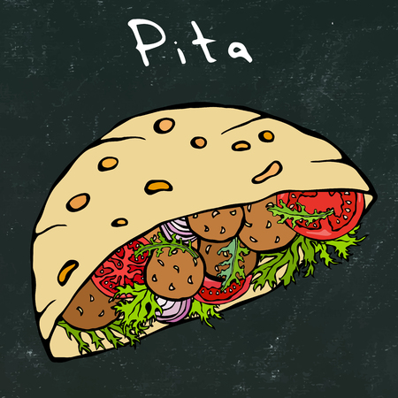 Black Board Background. Falafel Pita or Meatball Salad in Pocket Bread. Arabic Israel Healthy Fast Food Bakery. Jewish Street Food. Realistic Hand Drawn Illustration. Savoyar Doodle Style