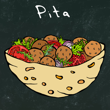Black Board Background. Falafel Pita or Meatball Salad in Pocket Bread. Arabic Israel Healthy Fast Food Bakery. Jewish Street Food. Realistic Hand Drawn Illustration. Savoyar Doodle Style