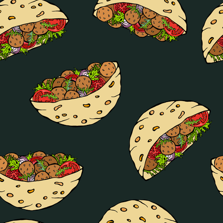 Black Board Background. Seamless Endless Pattern with Falafel Pita or Meatball Salad in Pocket Bread. Arabic Israel Healthy Fast Street Food. Realistic Hand Drawn Illustration. Savoyar Doodle Style Illustration