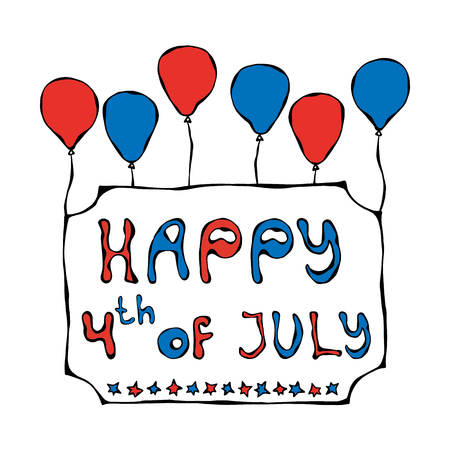 Happy USA Independence Day 4 th July Lettering in a Frame. Greeting card and poster Design. Realistic Hand Drawn Illustration. Savoyar Doodle Style.