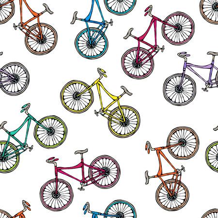 Naadloze patroon van fietsen. Eindeloze fiets achtergrond. Realistische hand getrokken illustratie. Savoyar Doodle stijl.