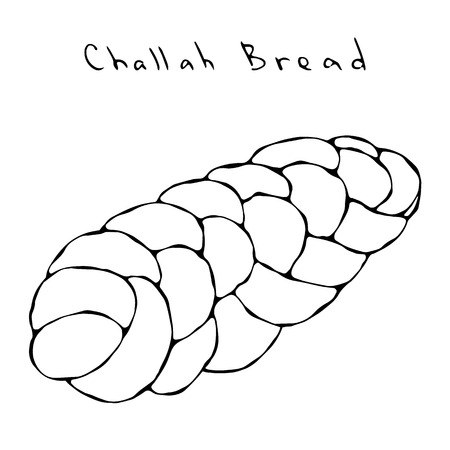 Zopf or Challah Bread. Jewish or Swiss, Austrian or Bavarian Bakery. Realistic Hand Drawn Illustration. Savoyar Doodle Style.