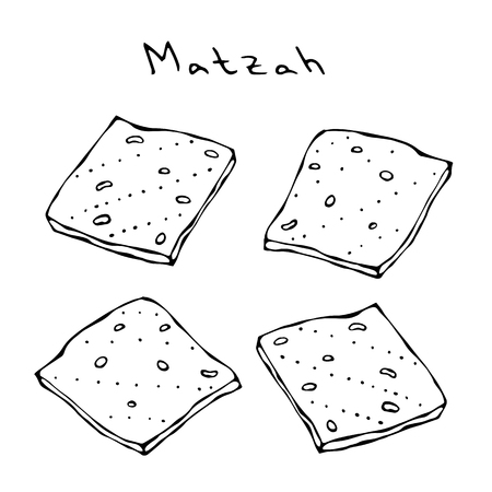 Matzah or Matzo, Unleavened bread for Pesach, Jewish holiday of Passover, isolated on white background, design element. Realistic Hand Drawn Illustration. Savoyar Doodle Style.