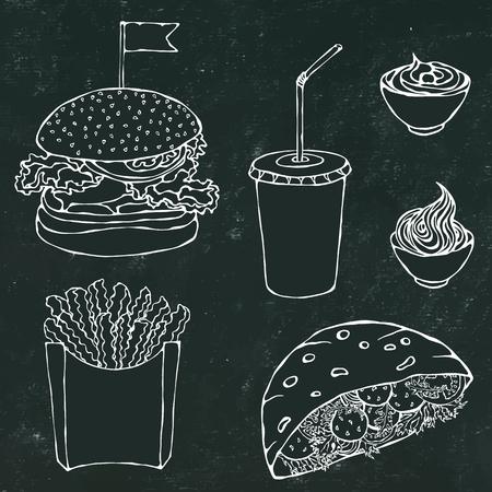 Fondo de tablero negro. Ensalada de Hamburguesa, Papas Fritas, Ketchup, Falafel Pita o Albóndigas en Pan de Bolsillo y Salsa de Mayonesa. Comida rápida en la calle. Ilustración realista dibujada a mano. Estilo Doodle de Savoyar.