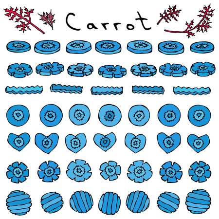 Strange Crazy Blue Carrots. Vegetables Series. Realistic Hand Drawn Illustration. Savoyar Doodle Style