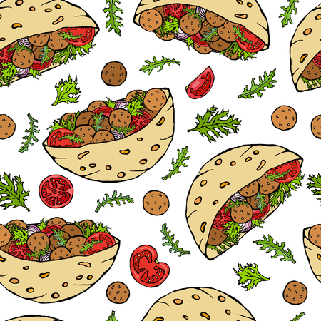 Seamless Endless Pattern with Falafel Pita or Meatball Salad in Pocket Bread. Arabic Israel Healthy Fast Food, Bakery. Jewish Street Food. Realistic Hand Drawn Illustration. Savoyar Doodle Style.