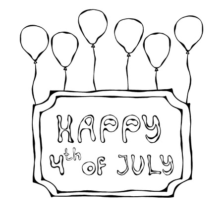 Happy USA Independence Day 4 th July Lettering in a Frame. Greeting card and poster Desig. Realistic Hand Drawn Illustration. Savoyar Doodle Style